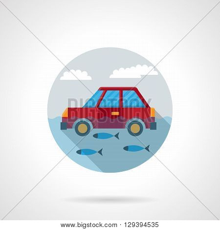 Flood disaster for transportat. Red car floating in water with fishes. Automobile insurance concept. Round flat color style vector icon. Web design element for site, mobile and business.