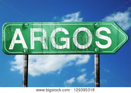 Argos, 3D rendering, a vintage green direction sign