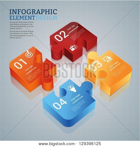 creative design template with jigsaw can be used for infographics and banners, presentation, education concept design vector illustration
