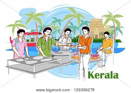 easy to edit vector illustration of people and culture of Kerala, India