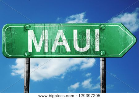 Maui, 3D rendering, a vintage green direction sign