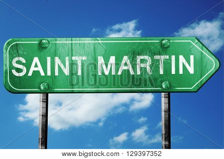 Saint martin, 3D rendering, a vintage green direction sign