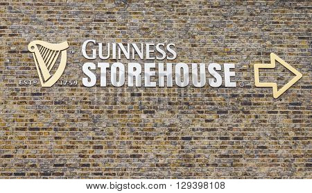 DUBLIN, IRELAND - MAY 05, 2016: Sign outside the Guinness Storehouse. The place is one of the mosted visited sites in Ireland and contains many attractions distributed in seven floors.