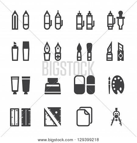 Drawing and Painting Tools icon set with White Background