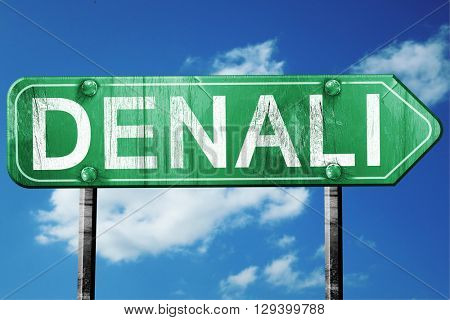 Denali, 3D rendering, a vintage green direction sign