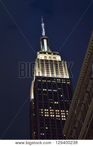 New York City, USA - December 20, 2015: Empire State Building of Manhattan at evening illumination.