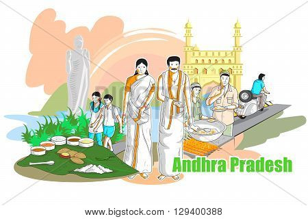easy to edit vector illustration of people and culture of Andhra Pradesh, India