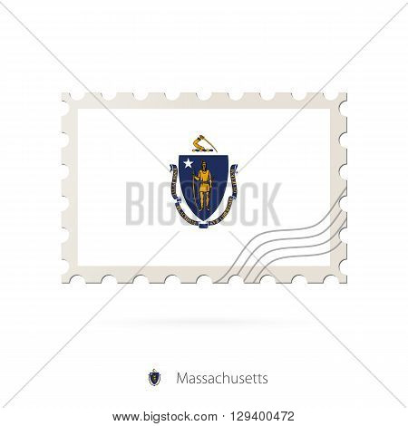 Postage Stamp With The Image Of Massachusetts State Flag.