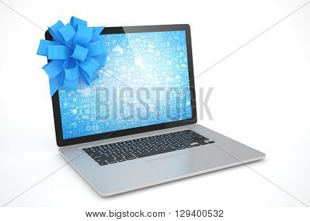 Laptop with blue bow and blue screen. 3D rendering.