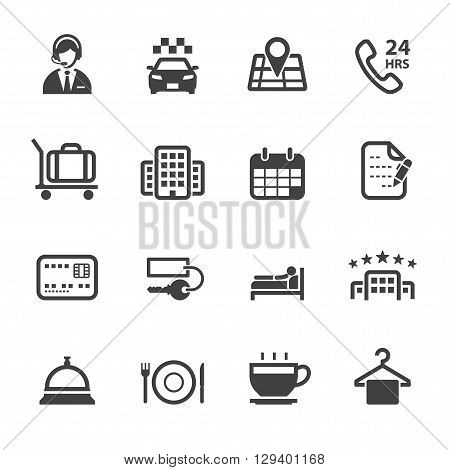 Hotel and Hotel Services icon set with White Background