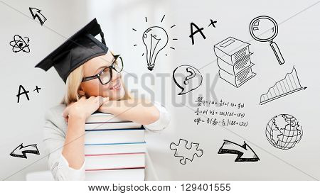 education, school, graduation and people concept - happy student girl or woman in graduation cap with stack of books over doodles
