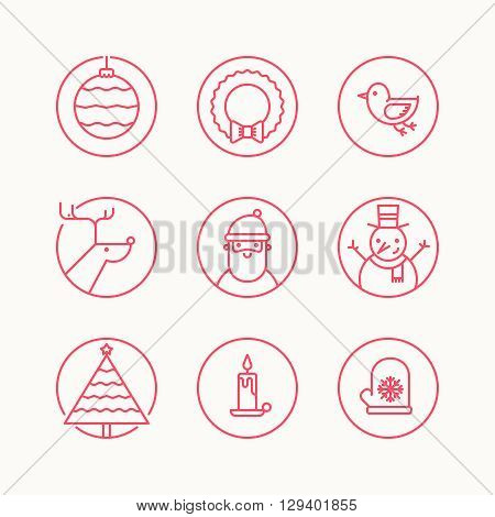 Set of outline circle icons with traditional christmas signs and symbols. Santa reindeer X-Mas tree mistletoe snowman
