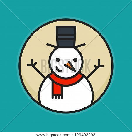 Colored outline icon of snowman in red scarf and cylinder hat with hands up greeting and smiling placed in circle