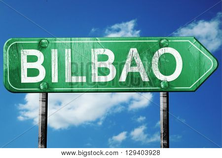 Bilbao, 3D rendering, a vintage green direction sign