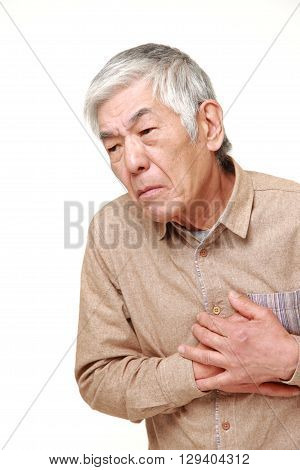 portrait of senior Japanese man heart attack on white background