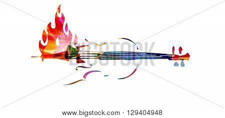Vector illustration of colorful violoncello on fire