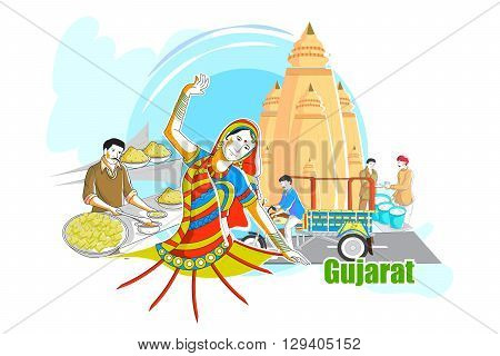 easy to edit vector illustration of people and culture of Gujarat, India