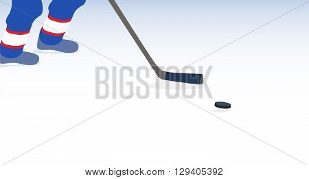 Ice Hockey Player with Stick and Puck. Vector Illustration. EPS10