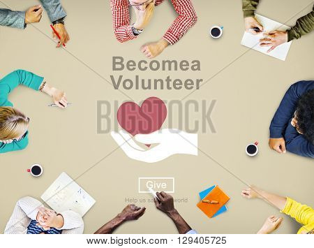 Become Volunteer Charity Donate Concept