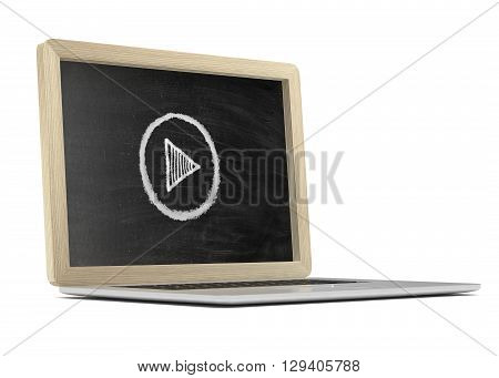 Laptop with chalkboard, online video education concept. 3d rendering.