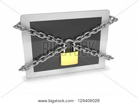 tablet PC with chains and lock isolated on white background. 3d rendering.