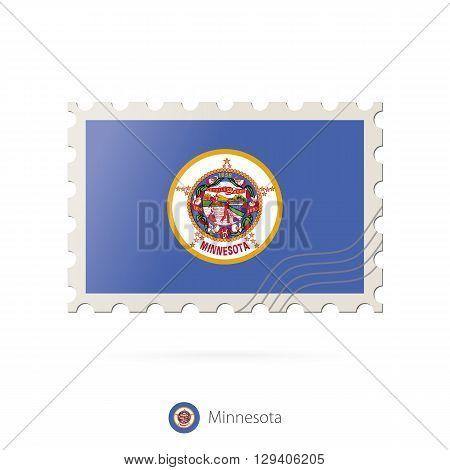 Postage Stamp With The Image Of Minnesota State Flag.