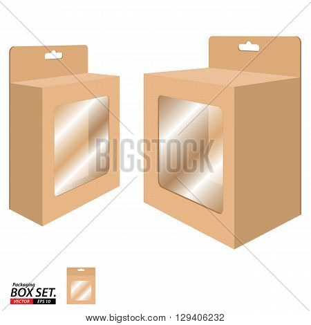 Box Packaging Design. Packaging Box for Brown Paper isolated on white background.