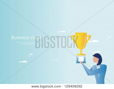Triumph in business concept. Businesswoman holding trophy