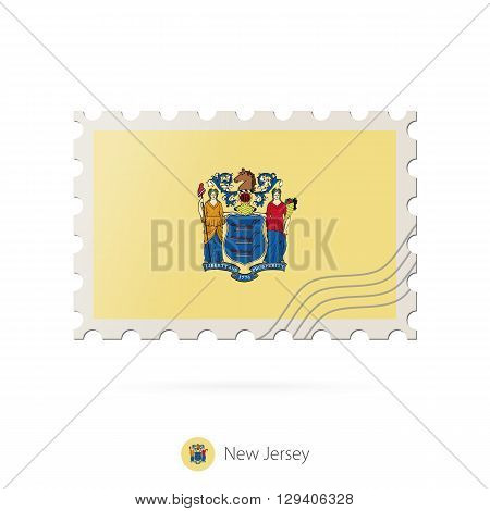 Postage Stamp With The Image Of New Jersey State Flag.