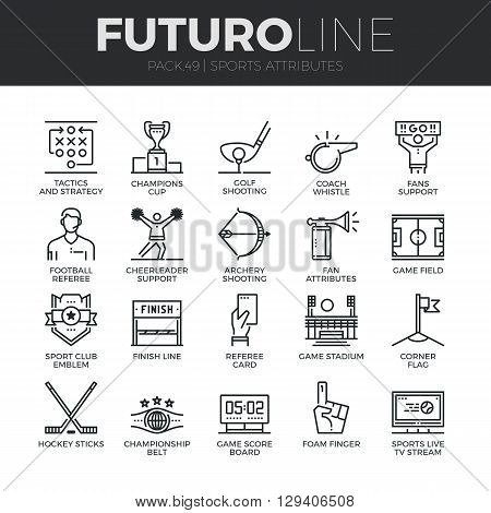 Sports Attributes Futuro Line Icons Set