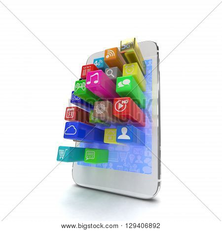 application software icons extruding from smartphone, isolated on white. 3d rendering.