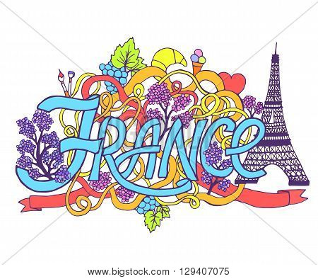 France Art Abstract Hand Lettering And Doodles Elements Background