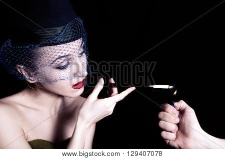 Retro Portrait Of Beautiful Young Caucasian Woman