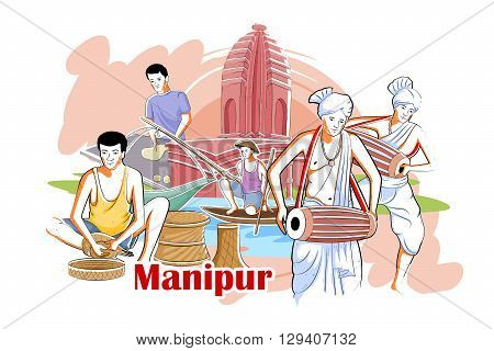 easy to edit vector illustration of people and culture of Manipur, India