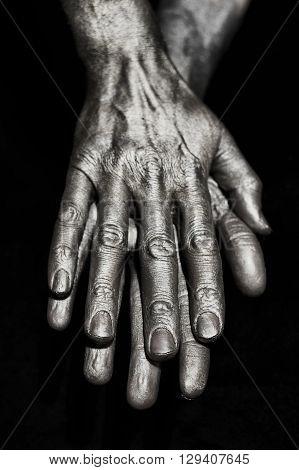 Sculptural Metal Male Hands