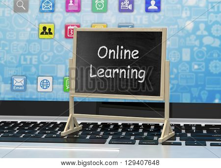 Laptop with chalkboard, online education concept. 3d rendering.