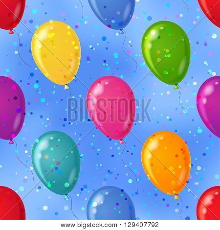Balloons flying in blue sky, seamless colorful pattern background