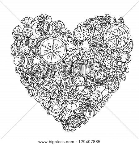 Heart shape of sweets and lollypos. Artistically drawn, stylized. uncoloured  black and white ornament in adult coloring book style. Could be use  for adult coloring book  in zenart style.