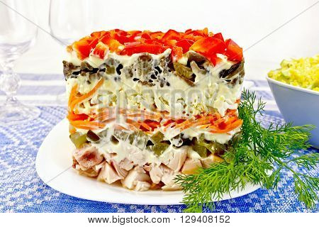 Salad With Chicken And Dill On Tablecloth