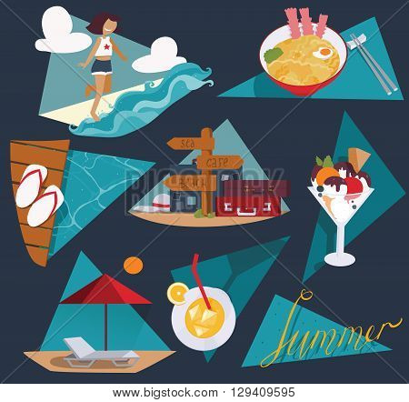 Isolated on dark blue vector illustration with set of summer vacation images. Happy girl and sea ice cream cocktail cool noodle flop flops and pointer with bags and suitcases sunbed and umbrella.