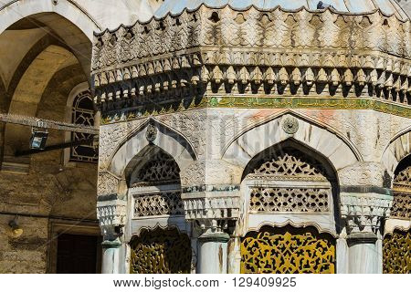 Ottoman engravement patterns on a stone building