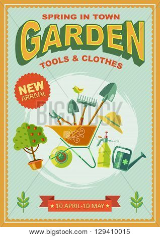 Garden retro poster with big slogan ribbon at the bottom and gardening tools at the center vector illustration