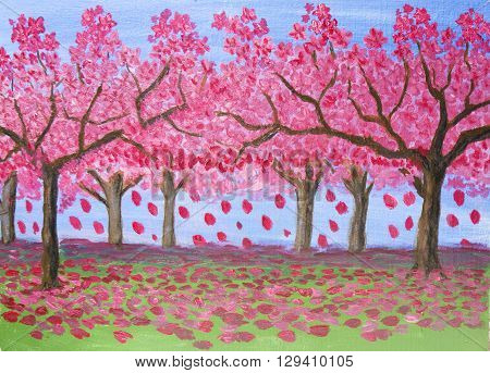 Spring landscape garden in blossom trees with pink flowers oil painting.