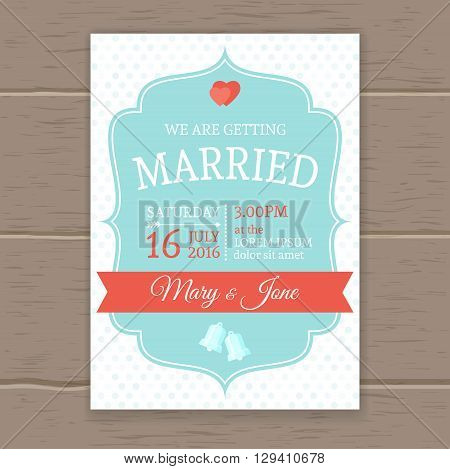 Flat wedding invitation with polka dots blue pattern and space to specify the date place time of the ceremony vector illustration