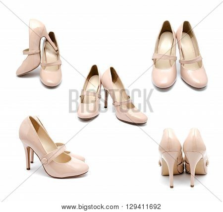 Collection of photos biege high heel woman shoes isolated on a white