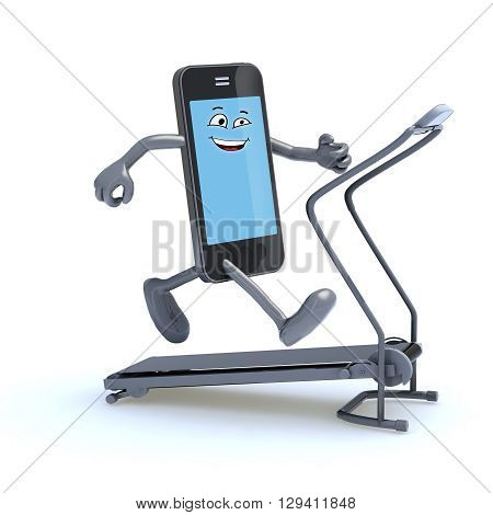 smartphone with arms and legs on a running machine 3d illustration