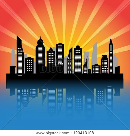 Skycrapers. City skyline. City vector illustration at sunset