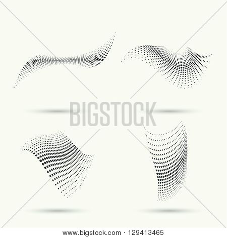 The dynamic object curved waves. halftone. Dots of various diameters. Set.