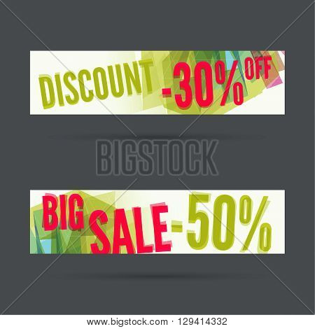 Set of discount banners. Big sale. discount