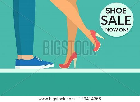 Shoe sale now shopping banner with human legs wearing high-heeled shoes and sport boots. Flat conceptual illustration of couple wearing high-heeled shoes and casual slip-on shoes